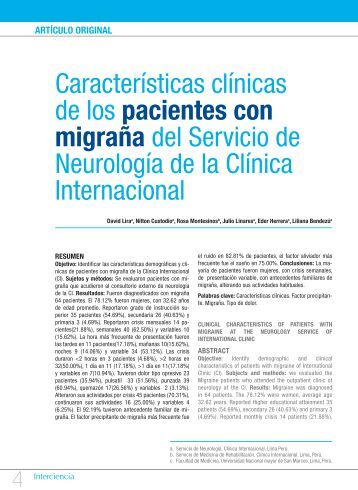 Características clínicas de los pacientes con migraña del Servicio ...