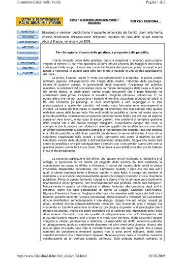 Pagina 1 di 2 Il comitato Liberi nella Verità 10/10/2008 http://www ...