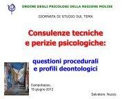 Consulenze tecniche e perizie psicologiche: - Ordine Psicologi Molise