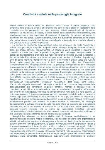 Creatività e salute nella psicologia integrale - Stefano Pischiutta