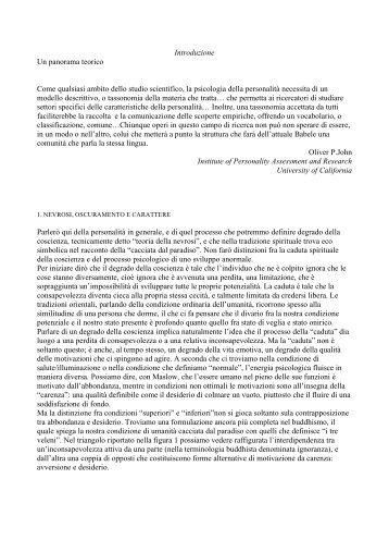 Introduzione Un panorama teorico Come ... - Claudio Naranjo