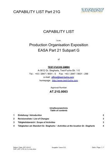 CAPABILITY LIST Part 21G CAPABILITY LIST ... - Test Fuchs