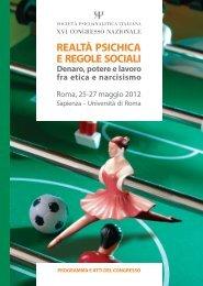 Programma Realtà psichica e regole sociali - Roma Futura