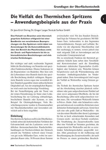 Die Vielfalt des Thermischen Spritzens – Anwendungsbeispiele aus ...