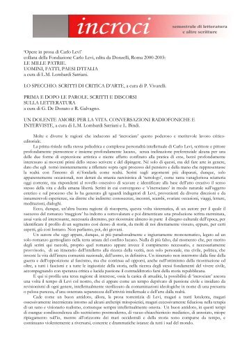 'Opere in prosa di Carlo Levi' collana della ... - Adda Editore