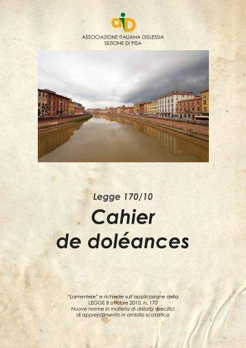 ahier de doleances legge 170/2010 - Associazione Italiana Dislessia