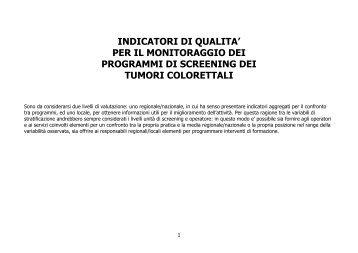 INDICATORI DI QUALITA' PER IL MONITORAGGIO DEI ... - GISCoR