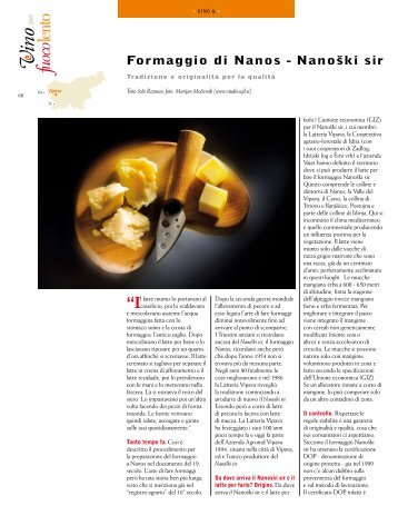 Formaggio di Nanos - Nanoški sir - Revija Vino