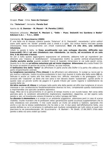 """Gruppo: Puez - Cima: Sass da Ciampac' Via: """"Solarium ... - Il Monodito"""