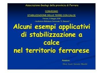 Stabilizzazione a calce nel territorio ferrarese - Laboratorio prove ...