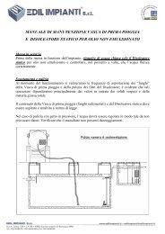 Manuale di manutenzione vasca di prima pioggia e ... - Edil Impianti