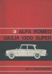 Alfa Romeo Giulia 1300 super- uso e manutenzione - IW1AxR