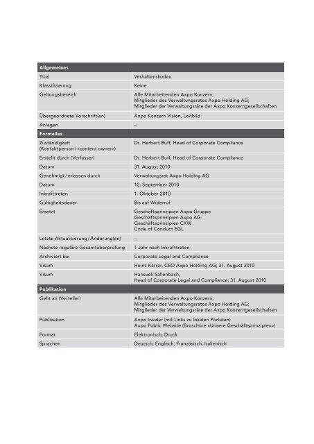 Verhaltenskodex FDB/0059 - Kernkraftwerk Leibstadt AG