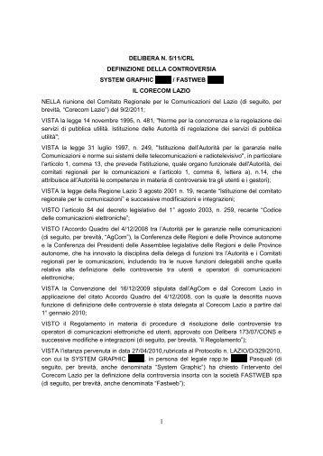 Delibera 05/11/CRL - Corecom Lazio