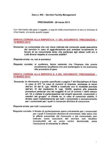 Gara n. 600 - Servizio Facility Management - Atm