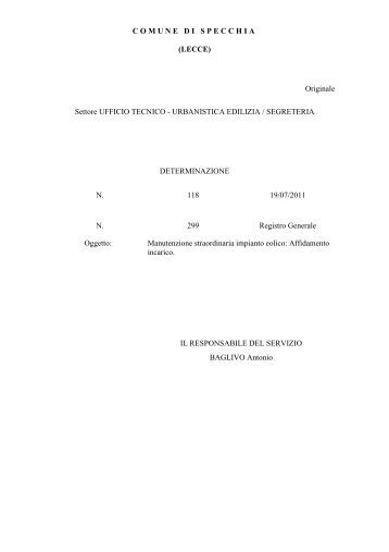 All 39 ufficio tecnico settore manutenzioni del comune di anzio al - Comune di specchia ...
