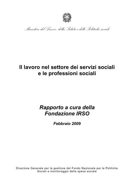 Rapporto A Cura Della Fondazione Irso Ministero Del Lavoro Salute
