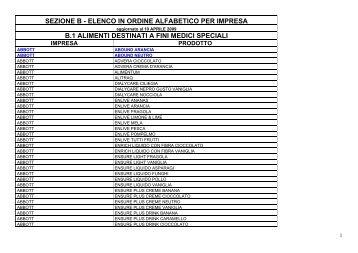 SEZIONE A - ELENCO IN ORDINE ALFABETICO PER IMPRESA
