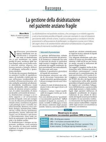 La gestione della disidratazione nel paziente ... - Passoni Editore