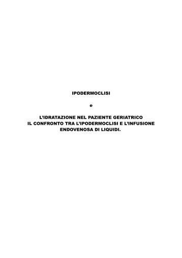 IPODERMOCLISI e L'IDRATAZIONE NEL PAZIENTE GERIATRICO ...