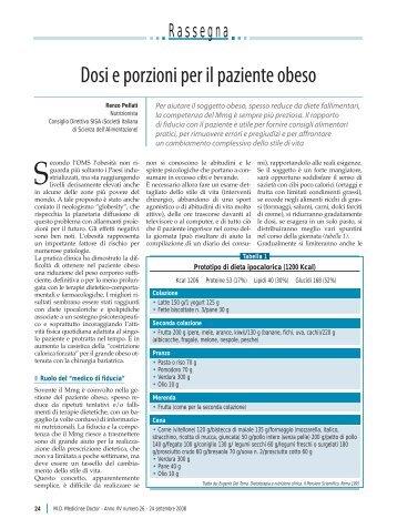 Dosi e porzioni per il paziente obeso - Passoni Editore