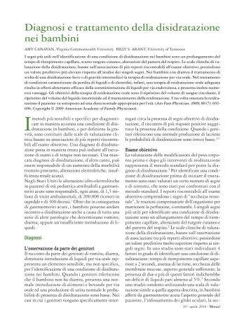 Diagnosi e trattamento della disidratazione nei bambini