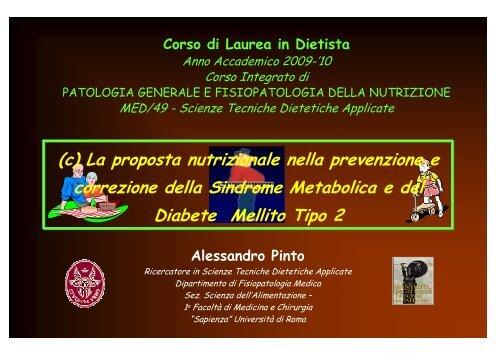 P 1g/kg PI; CHO 55-65%; L - Sapienza Università di Roma