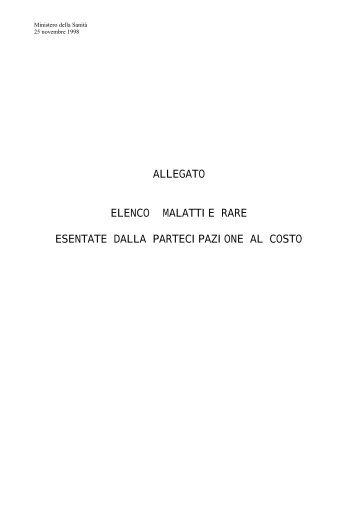 ALLEGATO ELENCO MALATTIE RARE ESENTATE DALLA ...