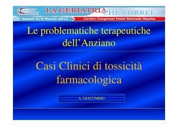 Casi Clinici di tossicità Casi Clinici di tossicità farmacologica