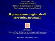 Il programma regionale di screening neonatali - Associazione ...