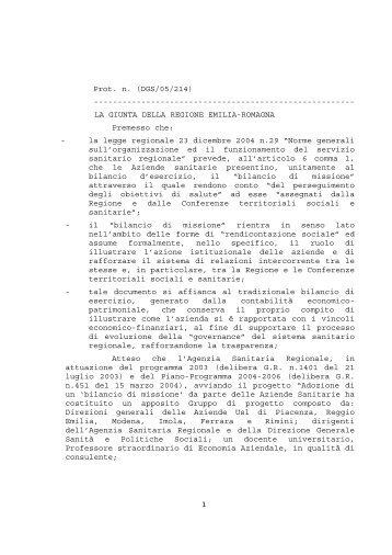 bilancio di missione - Agenzia sanitaria e sociale regionale ...