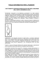 foglio informativo per il paziente - Dipartimento Cardio Vascolare e ...