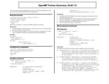 OpenMP Fortran Summary: Draft 1.0
