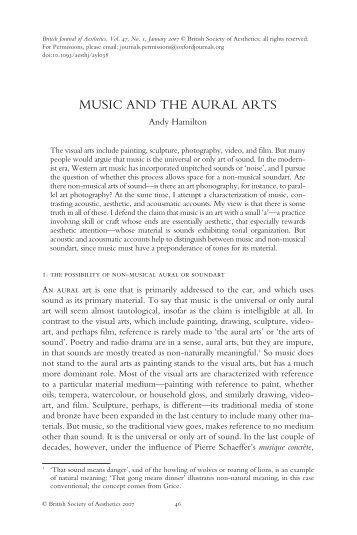 Hamilton-2007-Music and the Aural Arts.pdf - Sound Art Archive .net