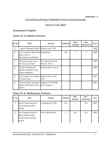 List of research paper