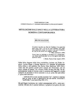 mitologemi balcanici nella letteratura romena ... - Europa Orientalis