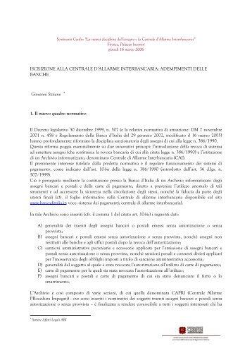 ISCRIZIONE ALLA CENTRALE D'ALLARME ... - No Protesti