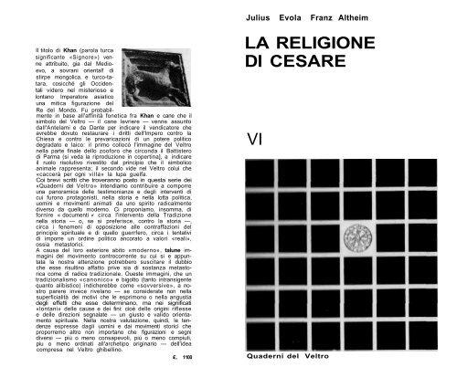 Evola La Religione Di Cesare Fuoco Sacro