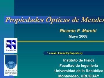 Propiedades Ópticas de Metales - Facultad de Ingeniería