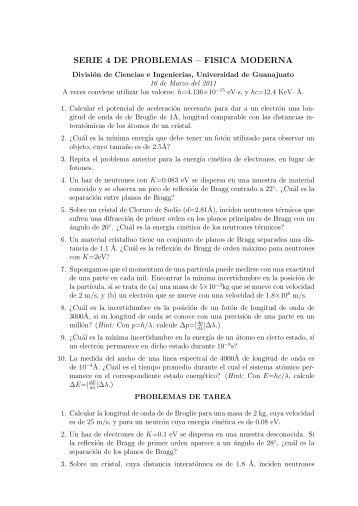 SERIE 4 DE PROBLEMAS – FISICA MODERNA - IFUG ...