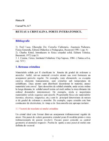 RETEAUA CRISTALINA. FORTE INTERATOMICE. Bibliografie - MSL