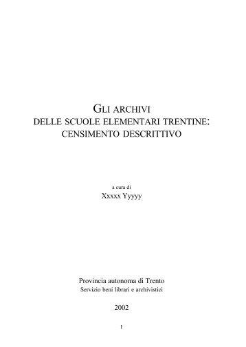 gli archivi delle scuole elementari trentine - Trentino Cultura