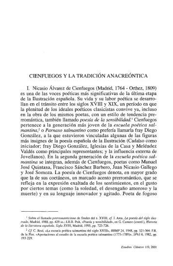 cienfuegos y la tradición anacreóntica - InterClassica - Universidad ...