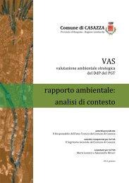 VAS rapporto ambientale: analisi di contesto - Comune di Casazza