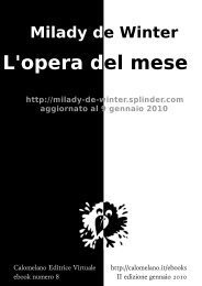 Milady de Winter - L'opera del mese - Calomelano
