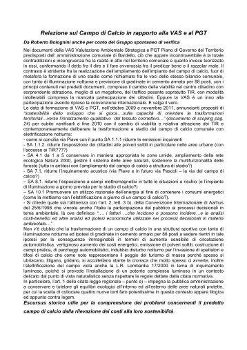 Relazione sul Campo di Calcio in rapporto alla VAS e al PGT