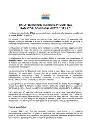 """caratteristiche tecniche-produttive radiatori scaldasalviette """"still"""""""