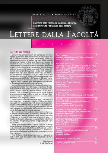 LETTERE 2007 11.pdf - Facoltà di Medicina e Chirurgia - Università ...
