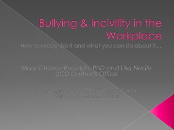 Bullying & Incivility in the Workplace - Ombuds Office