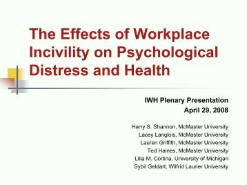 The Effects of Workplace Incivility on Psychological Distress and ...
